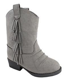 Gray Fringe Cowboy Boot