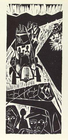 'Migration North' (c.1948) by American artist & printmaker Leona Pierce (1921-2002). Woodcut, 10.5 x 4.5 in. via live auctioneers