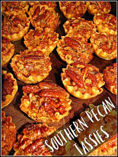 One of my favorite party desserts are Pecan Tassies. They are simply delicious bite size pecan pies. Just like a Pecan Pie you simply mix the ingredients together in a bowl, spoon into tarts, bake, Just Desserts, Delicious Desserts, Dessert Recipes, Yummy Food, Party Desserts, Mini Desserts, Plated Desserts, Kentucky Derby Food, Tassies Recipe