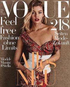 Stella Maxwell by Giampaolo Sgura for Vogue Germany August 2016 Cover - Prada Fall 2016