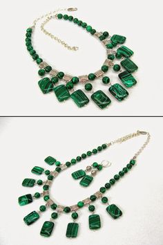 Malachite Necklace Green stone statement necklace by SanaGem