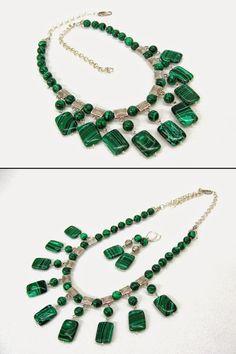 Dark Green Malachite Necklace unique design statement by SanaGem