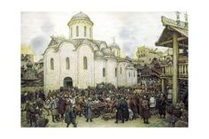 Giclee Print: Khan Tokhtamysh's Invasion of Moscow in 1382, 1918 by Apollinary Vasnetsov : 24x16in Golden Horde, Moscow, Find Art, Framed Artwork, Giclee Print