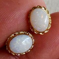 Vtg ZZ 14K Yellow Gold Fiery Opal Pierced Earrings Solitaire Stud 585 Stamped  #ZZ #Stick