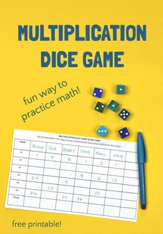 Multiplication dice games makes practicing math times tables fun! Learning math facts won't be a chore when you turn it into a fun game! Educational Activities For Kids, Fun Learning, Children Activities, Writing Prompts For Kids, Kids Writing, Multiplication Dice Games, Maths Times Tables, Math For Kids, Kids Fun