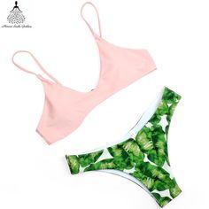 2 Pc Pink & Floral Summer Brazilian Bikini