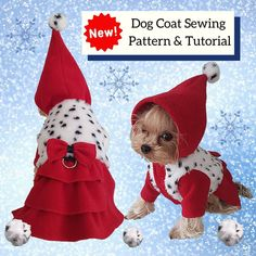 """""""New in the shop! Dog coat sewing PATTERN pdf. 🐕🐾"""" Dog Coat Pattern, Coat Pattern Sewing, Girl Dog Clothes, Small Dog Clothes, Dog Clothes Patterns, Coat Patterns, Small Dog Coats, Small Dogs, Waterproof Dog Coats"""