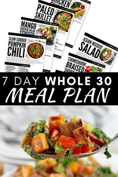 Have you heard about Whole but aren't sure where to start? This Whole 30 Meal Plan is going to be the perfect way to start! These healthy recipes will help you kick off your healthy Whole 30 reset! 500 Calorie Meals, Low Calorie Recipes, Healthy Eating Recipes, Healthy Cooking, Healthy Snacks, Pumpkin Salad, Recipe Maker, Whole 30 Meal Plan, Whole 30 Recipes