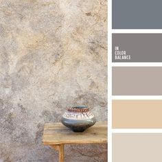 This monochrome palette of gray tones is perfectly suited for Grunge. Also, such colors are relevant for Modern stylistics. Using this palette, you can cre. Color Palette For Home, Pastel Colour Palette, Colour Pallette, Color Palate, Colour Schemes, Pastel Colors, Paint Colors, Colours, Taupe Color Palettes