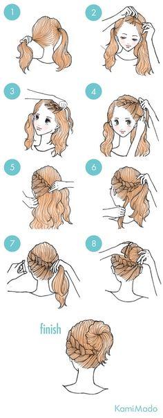 Tutorial de penteado de trança embutida frontal e finalização em coque. by manuela