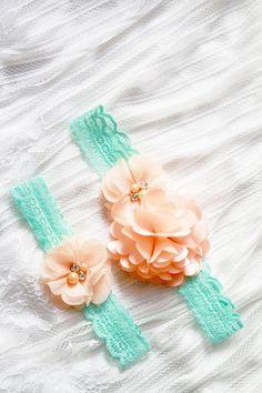 Wedding Garter Set Bridal Garter Belt Lace Garter  Peach