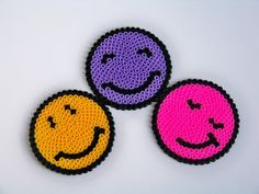 sandylandya@outlook.es pixel bead 3 pcs faces coasters.. hama bead