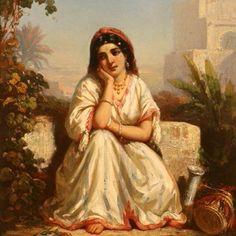 Algérie - Peintre français Eugène Delacroix(1798- 1863), Huile surtoile , Titre : Femme juive d'Alger