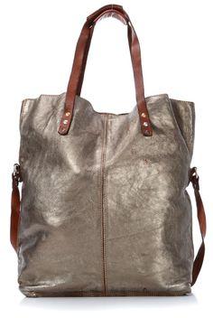 Lavata Tote Leather silver 45 cm