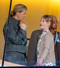 Sophie, Countess of Wessex and daughter Lady Louise Windsor watch the racing as they attend the Christmas Meeting at Ascot Racecourse on 20.12.2014 in Ascot, England