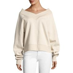Burberry Falacho V-Neck Long-Sleeve Sweatshirt ($395) ❤ liked on Polyvore featuring tops, hoodies, sweatshirts, light beige, beige sweatshirt, pink sweatshirts, burberry sweatshirt, v-neck tops and pullover sweatshirt