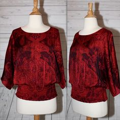 CATO Sz S, Small Batwing 3/4 Sleeve Red Paisley Soft Dress Top Blouse Shirt | eBay