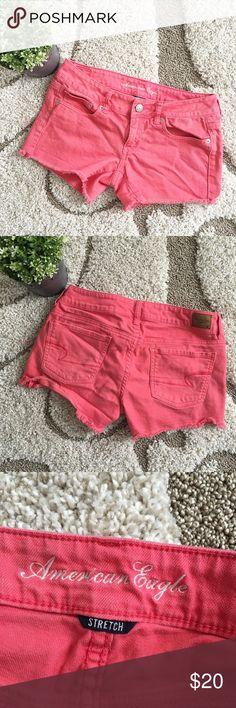 ☀️SALE☀️American Eagle Cut Off Jean Shorts Ameican Eagle pinkish coral cut off Jean shorts. Size 6 American Eagle Outfitters Shorts Jean Shorts
