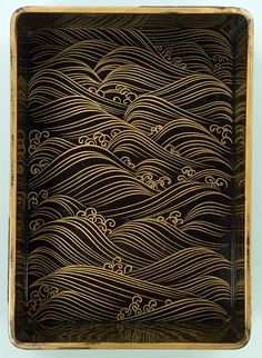Writing box. Waves. Interior of Yatsu-hashi bridge. By 尾形光琳 Ogata Korin (1658-1716). Edo Period. 18th century. National Treasure of Japan. Rinpa style. TOKYO NATIONAL MUSEUM.