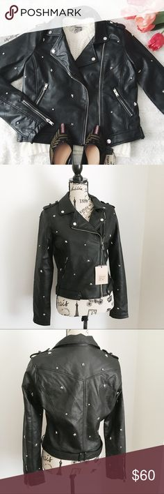 "NWT Star Studded Moto Jacket ✦   ✦{I am not a professional photographer, actual color of item may vary ➾slightly from pics}  ❥chest:20"" ❥waist:17.5"" ❥length:20"" ❥sleeves:26"" ➳material/care:vegan leather  ➳fit:a fitted medium, closer to sml ➳condition:new w/tag   ✦20% off bundles of 3/more items ✦No Trades  ✦NO HOLDS ✦No transactions outside Poshmark  ✦No lowball offers/sales are final Ci Sono Jackets & Coats"