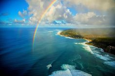 Somewhere over the rainbow, high above the North Shore. Photo: @ZakNoyle #Hawaii