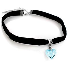 Heart Choker with Velvet Band (16 BRL) ❤ liked on Polyvore featuring jewelry, necklaces, blue, jewelry & watches, blue heart necklace, heart choker, velvet choker, charm jewelry and sparkly necklace