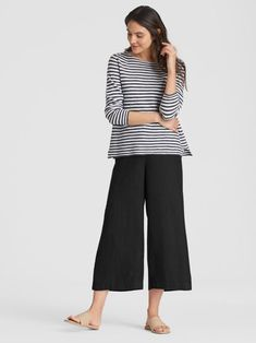 Heavy Organic Linen Cropped Wide-Leg Pant | EILEEN FISHER