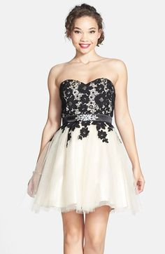 Free shipping and returns on Steppin Out Lace Bodice Strapless Skater Dress at Nordstrom.com. Inky lace drifts down a darling strapless party dress gathered by a rhinestone-studded belt before releasing to a flouncy tulle skirt.