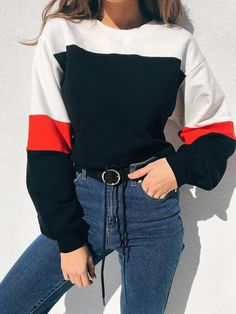 Apr 2020 - Shop White Cotton Blend Contrast Panel Long Sleeve Sweatshirt at victoriaswing, personal womens clothing online store! high quality, cheap and big discount, latest fashional style! Spring Outfits, Trendy Outfits, Fashion Outfits, Casual Street Style, Long Sleeve Outfits, Online Clothing Stores, Mode Style, Look Fashion, Latest Fashion