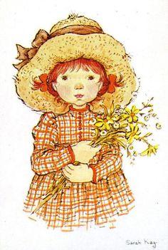 Pelirroja sombrero y flores