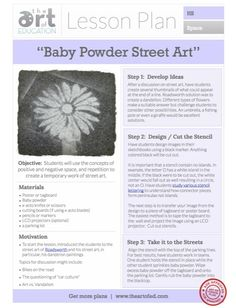 http://www.theartofed.com/2013/06/14/baby-powder-street-art-free-lesson-plan-download/