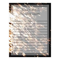 Fire Water Lined Wedding Guest Log Letterhead Template
