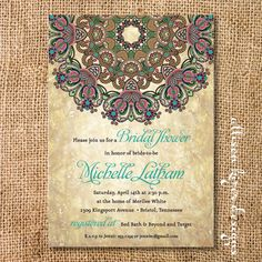 Items similar to Boho Medallion Bridal Shower Invitation Rustic Byzantine Printable Invitation Couples Shower Wedding Shower Rehearsal Dinner on Etsy Rustic Bridal Shower Invitations, Indian Wedding Invitations, Wedding Stationery, Daisy Wedding Flowers, Wedding Reception Flowers, Printable Invitations, Invitation Cards, Couple Shower, Paper Cards