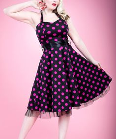 Look at this HEARTS & ROSES LONDON Black & Purple Polka Dot Halter Dress - Women on #zulily today!