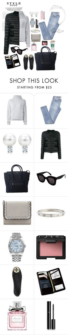 """""""Travel chic"""" by natasha-read ❤ liked on Polyvore featuring Le Kasha, Moncler, CÉLINE, STELLA McCARTNEY, Cartier, Rolex, NARS Cosmetics, Tory Burch, Royce Leather and Christian Dior"""