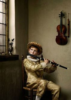 Erwin Olaf, Boy with Flute © Bank of Switzerland. Erwin Olaf, Tableaux Vivants, Music Aesthetic, Music Lessons, Beautiful Paintings, Fine Art Photography, Colour Photography, Photo Art, Sculpture