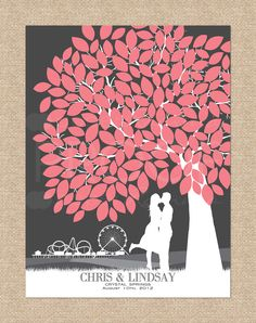 Wedding Tree Guestbook - Personalized Canvas Wrapped Skyline & Silhouette Print Keepsake, 175 Signature Guestbook Canvas Print, Size: 18x24. $99.00, via Etsy.----would do green leaves with Newport Bridge skyline and have guests sign with purple pen/marker