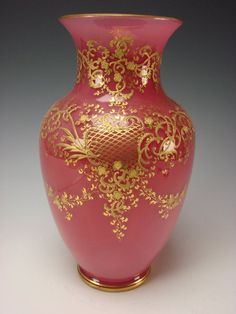 Elegant Antique Moser Pink Opaline Glass Vase With Gilt Decorations  c. Late 19th Century
