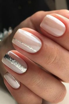 Nude Manicure with Silver Stripes