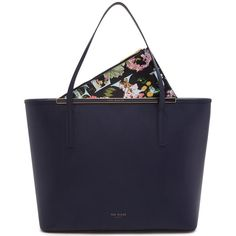 Ted Baker Arena Leather Shopper Bag, Navy (€230) ❤ liked on Polyvore featuring bags, handbags, tote bags, leather purse, zip top leather tote, leather tote shopper, leather handbag tote and navy leather tote