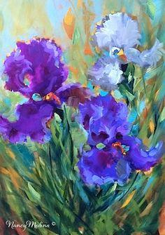 Postcards From Summer - Purple Hydrangeas, 16X12, oil Flower Paintings by Nancy Medina www.nancymedina.com