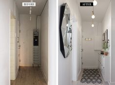 Hallway before & after - Christina Dueholm Foyer, Shoe Rack, Diy And Crafts, Ikea, New Homes, Mirror, Interior Design, Bedroom, Rest Room
