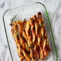 A sweet and savory appetizer that travels well, Bacon Straws.