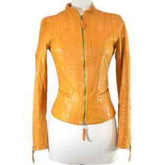 Pre-Owned Danier Leather | Yellow Mustard Leather Jacket featuring polyvore, women's fashion, clothing, outerwear, jackets, mustard jacket, leather jackets, zipper leather jacket, long sleeve jacket and genuine leather jackets