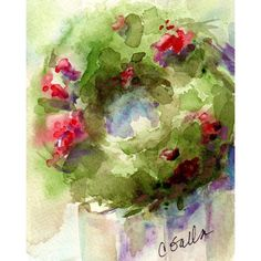 Barnwood Christmas Wreath Print from Watercolor Painting ($19) ❤ liked on Polyvore