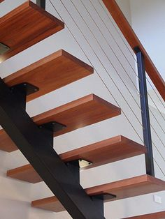 52 Ideas For Concrete Stairs Ideas Stairways Steel Stairs, Loft Stairs, Basement Stairs, House Stairs, Home Stairs Design, Railing Design, Interior Stairs, House Design, Timber Staircase