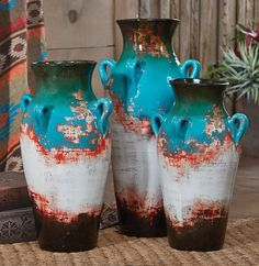 Santa Fe Teal Pottery Vases
