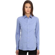 DSQUARED2 One-Button Classic Shirt (Light Blue) Women's Long Sleeve... ($133) ❤ liked on Polyvore featuring tops, blue, button down shirts, long sleeve sport shirts, long sleeve sports shirts, blue long sleeve shirt and button front shirt