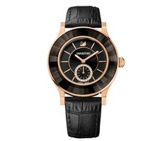36418de94 Swarovski Crystal - Octea Classica Watch, Black Rose Gold Tone Swarovski  Uk, Swarovski Watches