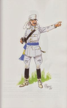 Spanish; Staff Captain in Rayadillo(the white with blue stiped material used) Uniform, Mel0illa Campaign 1908